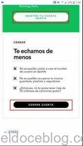 Cerrar cuenta Spotify
