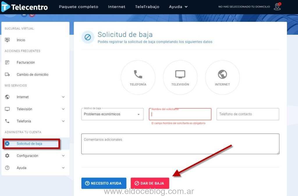 Baja sucursal virtual Telecentro