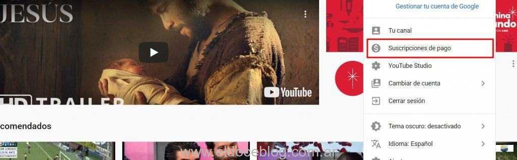 Dar de baja youtube premium